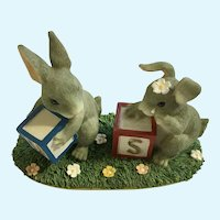 Charming Tails Fitz and Floyd There's No Us Without U Bunnies Figurine