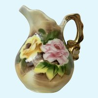 Enesco Small Creamer Roses Gold Accents Ceramic Pitcher Japan E2351