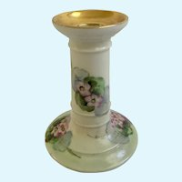 Beautiful Gold Accent Hand-Painted Porcelain Candlestick with Pink Flowers