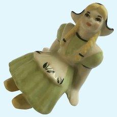 Dutch Girl Figurine Shelf Sitter Ceramic Arts Studio USA Pottery