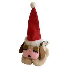 Vintage Cream Puff Christmas Santa Plush Puppy Dog Stuffed Animal