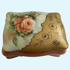 V. Henebry Porcelain Trinket Box Hand Painted Roses Footed
