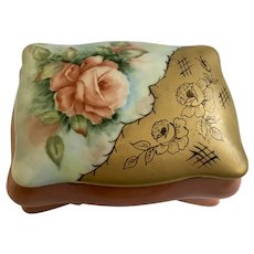 V. Henebry Porcelain Trinket Box Hand Painted Roses Footed