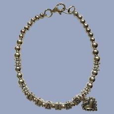 "Sterling Silver Heart Charm Bracelet 952 Claire 7.25"" Long"