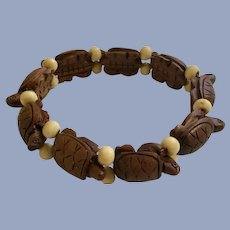 Turtle Parade Wooden Bracelet with Stretchy Band