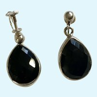 Sterling Silver Screw Back Earrings Faceted Black Glass Stones