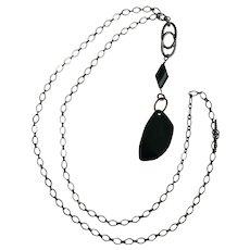 Polished Black Glass Stone Pendant Necklace