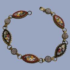 Vintage Mosaic Millefiori Bracelet Inlay Glass Canes Italy