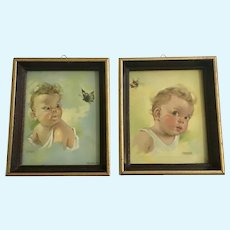Florence Kroger Baby Bee Butterfly Prints 1943