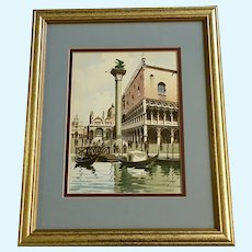 Sari, Watercolor Painting Lion of Venice Piazza of San Marco