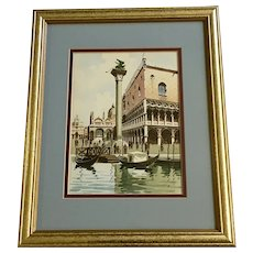 Sari, Watercolor Painting Lion of Venice Piazza of San Marco Doge's Palace, Italy