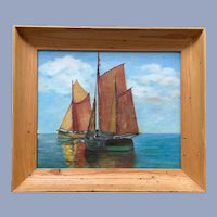 Mediterranean Fishing Boats Seascape Oil Painting