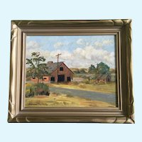 Frances McCarty, Rural Red Barn Landscape Oil Painting Signed by Artist