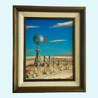 Paul Farrell, Windmill on Webb Ranch Oil Painting Signed by Oklahoma Artist
