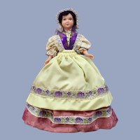 "Mid-Century Martha Washington Style Cathy Marque Déposée Doll Folk Art International 7"""