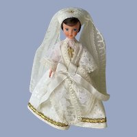 Mid-Century Cathy Marque Déposée Doll Bride Folk Art Dress International 7""