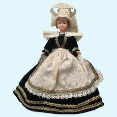 "Mid-Century Cathy Marque Déposée Doll Folk Art Dress International 8"""