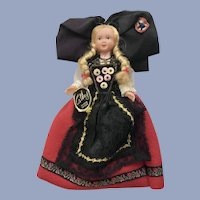Mid-Century Cathy Marque Déposée Doll Alsace France Folk Art Dress International 7""