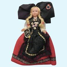 """Mid-Century Cathy Marque Déposée Doll Alsace France Folk Art Dress International 7"""""""