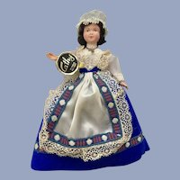 Mid-Century Cathy Marque Déposée Doll Folk Art Dress International 7""