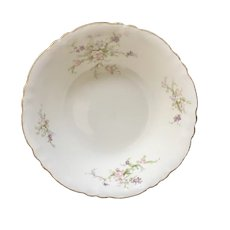 Pink, White and Purple Flowers with Greenery Serving Bowl Porcelain