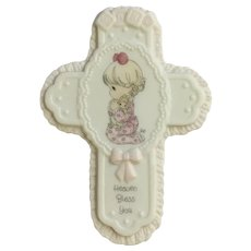 1999 Precious Moments Heaven Bless You Baby Girl Porcelain Cross Wall Decor