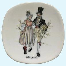 Vintage Sweden Rorstrand Svenska Landskapsdrakter  Uppland Porcelain Plate