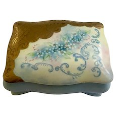 V. Henebry Porcelain Trinket Box Hand Painted Blue Flowers Footed