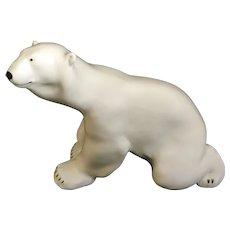 "Huge Lomonosov White Polar Bear USSR Russian Porcelain Figurine 11.5"""