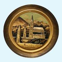 Wooden Folk Art Plate Sanctuaires Notre-Dame Church of Lourdes, France