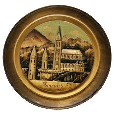 Wooden Folk Art Plate Sanctuaires Notre-Dame Church of Lourdes, France