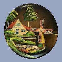 Wooden Folk Art Windmill Plate Scheveningen Netherlands