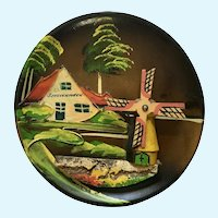 Wooden Folk Art Windmill Plate Scheveningen Netherlands