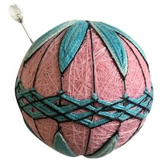 Vintage Pin Cushion Groovy Pink, Black and Blue String