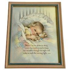 Now I Lay Me Down To Sleep Baby Bunny Vintage Print