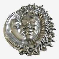 Sun Moon Pewter Metal Wall Plaque Astro Eclipse Celestial Art