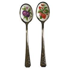 Vintage Avon Nature's Best Enameled Fruit Jam Spoons Strawberries Plumbs