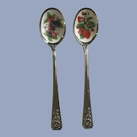 Vintage Avon Nature's Best Enameled Fruit Jam Spoons Strawberries Mixed Fruit