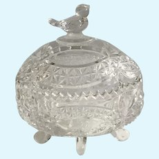 Vintage Germany Hofbauer Clear Crystal Glass Byrde Footed Candy Box with Lid Bird