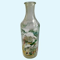 Vintage Caribbean Glass Rum Bottle with Pirates and Island Scenes