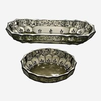Antique Glass Dishes with Art Nouveau Silver Overlay Floral Motif Bowls