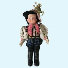 Vintage Paper Mache Face International Folk Boy Doll