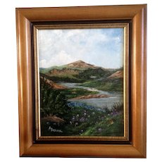 A. Denson, Mountain Landscape Oil Painting on Canvas Signed by Artist