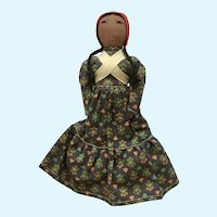 Rag Cloth Face Doll Girl Peruvian Handmade Mid-Century