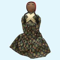 Rag Cloth Face Doll Girl Peruvian Handmade Mid-Century