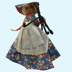 Vintage Handmade Old Mother Hubbard Clothes Pin Nut Head Doll