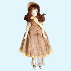 "Vintage Cloth Rag Doll Brown Yarn Hair 17"" Handmade"
