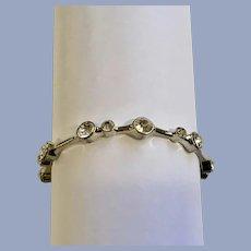 Silver-Tone and White Rhinestone Bangle Bracelet