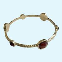 Gold-Tone Bangle Bracelet with Red Rhinestones