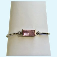 Stunning Silver-Tone and Pink Crystal Bracelet